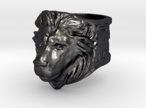 Shapeways' approximate  render of the lion ring in polished grey steel