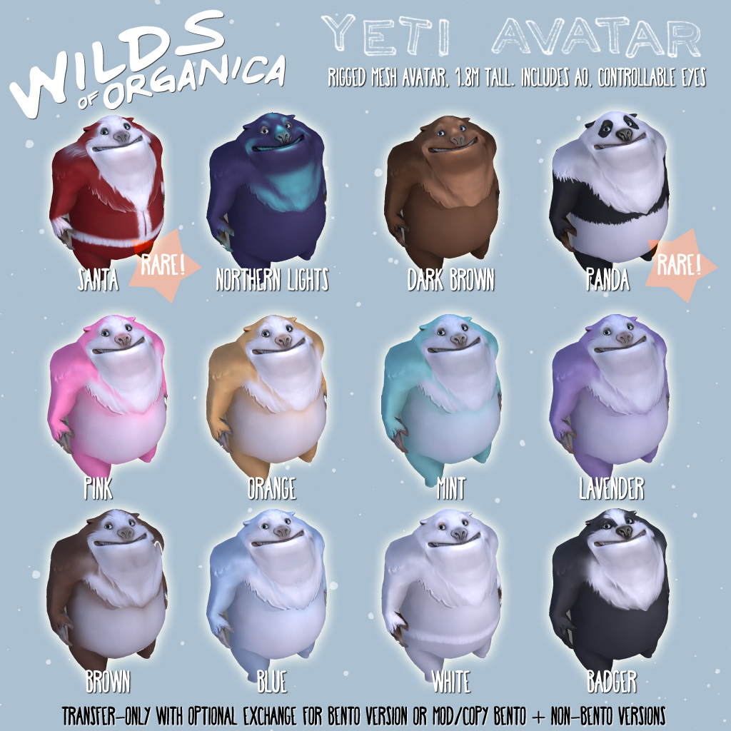 New Yeti Avatars this December at The Arcade!