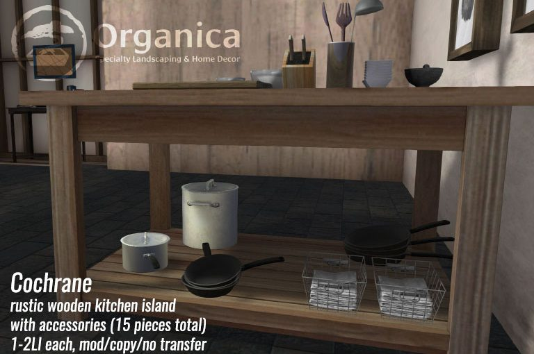 Cochrane - Rustic kitchen island with accessories