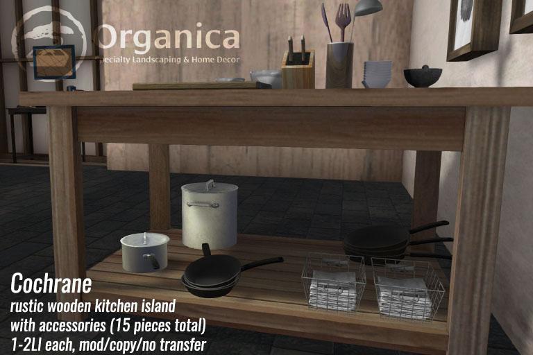 Cochrane - Rustic kitchen island with accessories